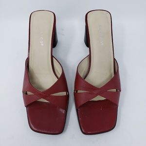 calico Shoes - Red leather slip on heels size 7.5